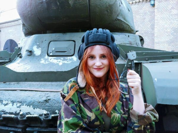 Customizable gaming Russian Tank Helmet worn by a tank lady