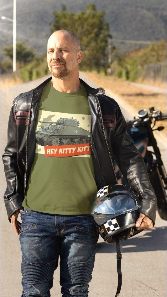 A biker wearing Hey Kitty Kitty Sherman Tank t-shirt