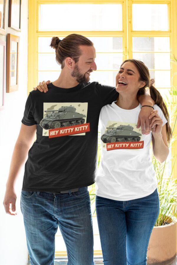 A happy couple wearing Hey Kitty Kitty Sherman Tank t-shirt