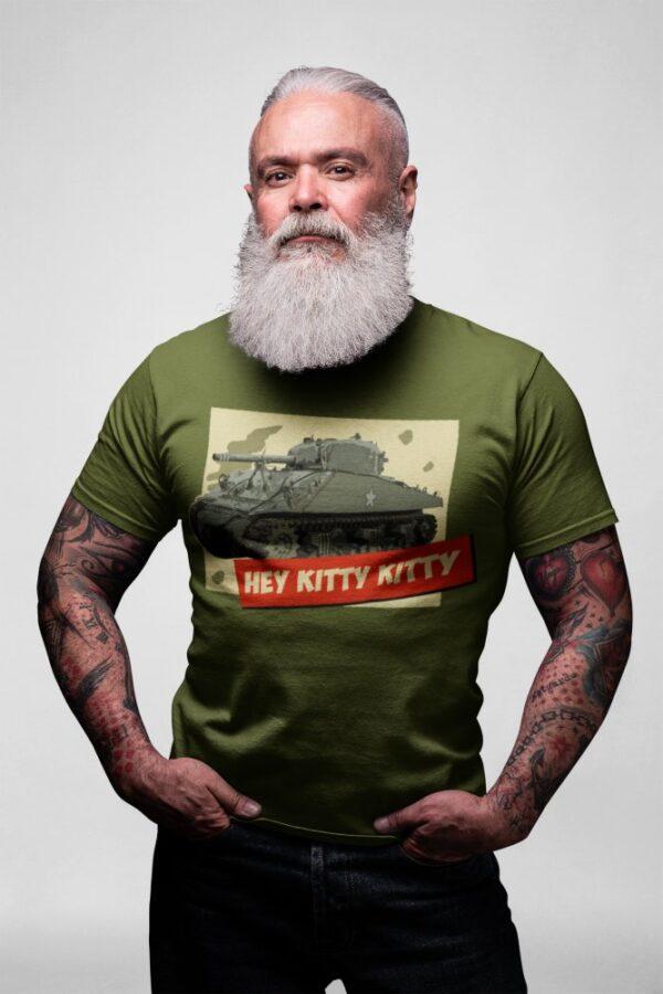 Man with a beard wearing Hey Kitty Kitty Sherman Tank t-shirt