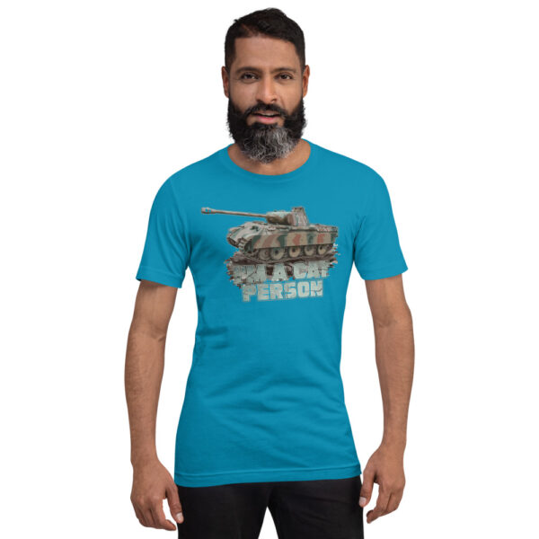 """A young man wearing """"I'm a Cat Person"""" Panther Tank T-shirt"""