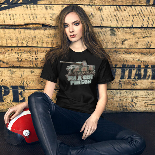 """A young woman wearing """"I'm a Cat Person"""" Panther Tank T-shirt"""