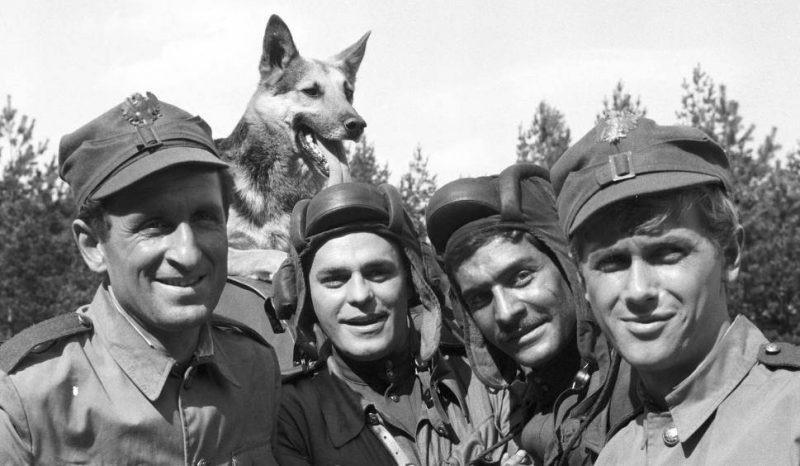 """Crew of the """"Rudy 102"""" T-34 tank, where heroes of the tv series """"Czterej pancerni i pies"""""""